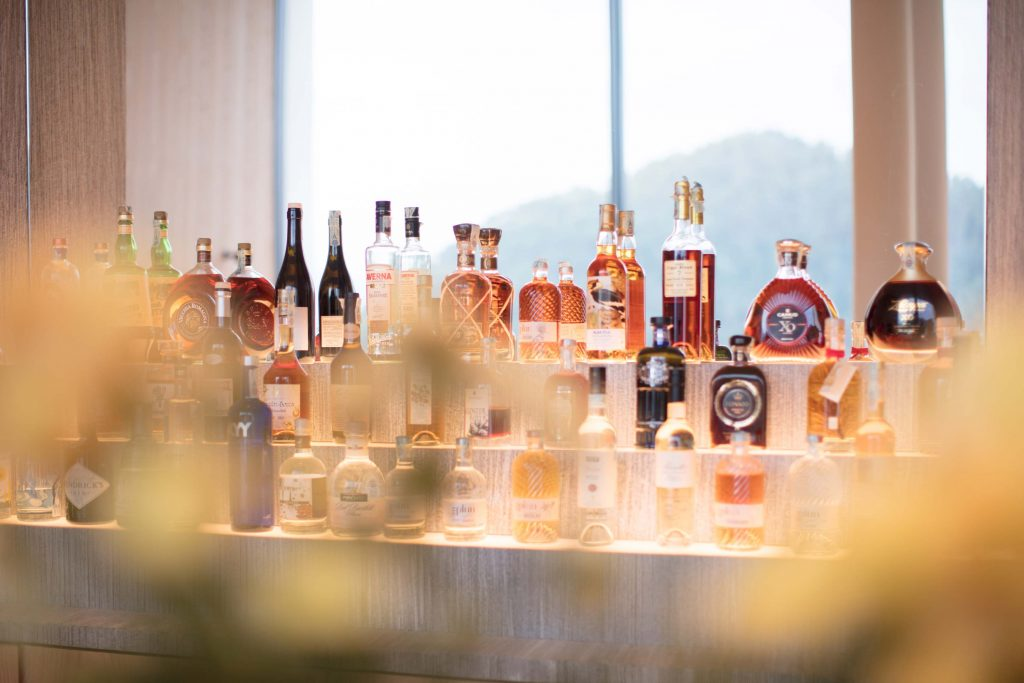 Extravagant Bottles of Liquor in the hotel bar of the Boutique Hotel Schgaguler